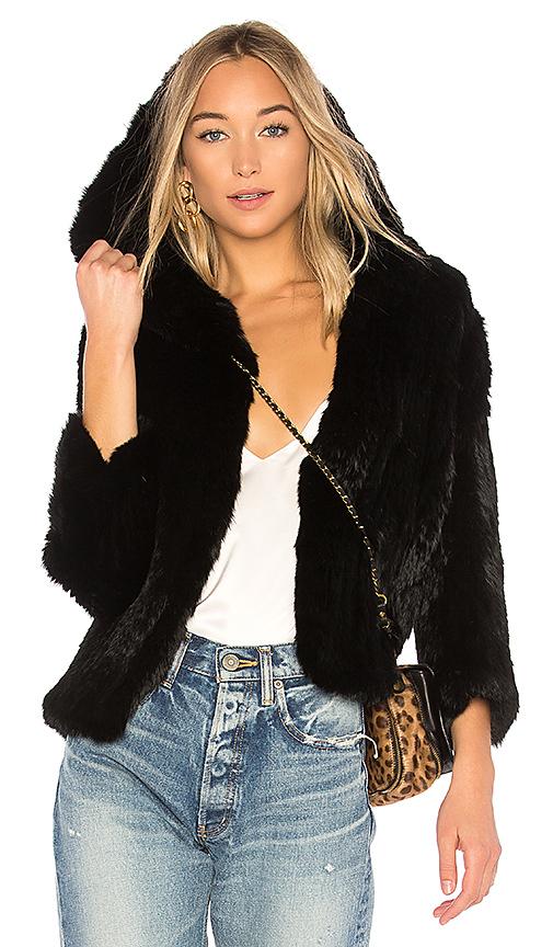 RACHEL ZOE Rose Fur Jacket in Black