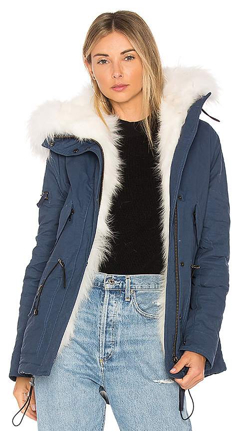 SAM. Mini Luxe Parka with Fox Fur and Asiatic Raccoon Fur in Blue