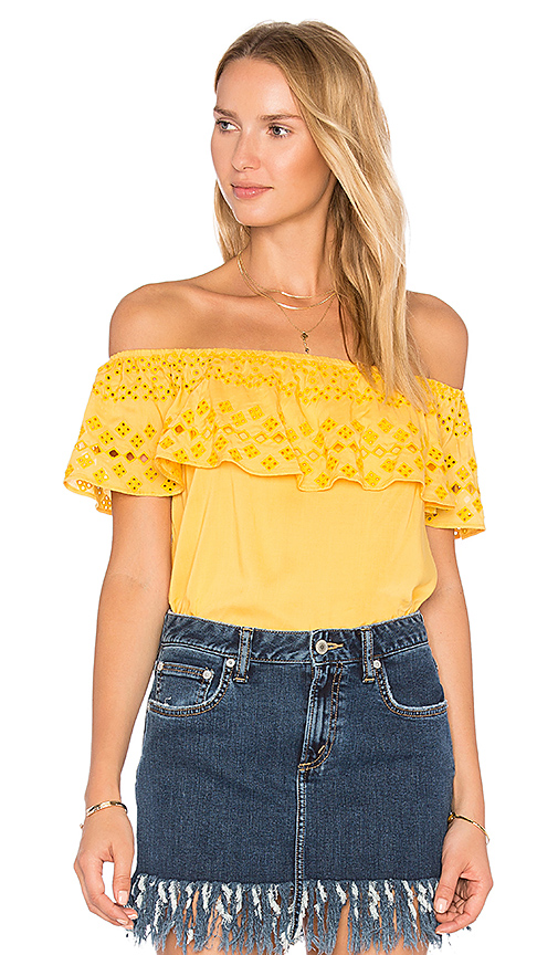 Sanctuary Misha Eyelet Top in Yellow