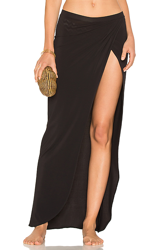 Sauvage Draped Wrap Skirt in Black