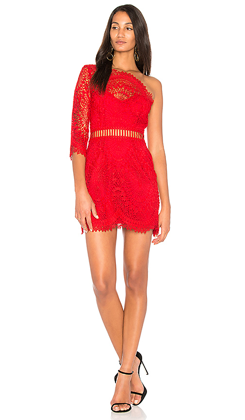 SAYLOR Pippa One Shoulder Dress in Red