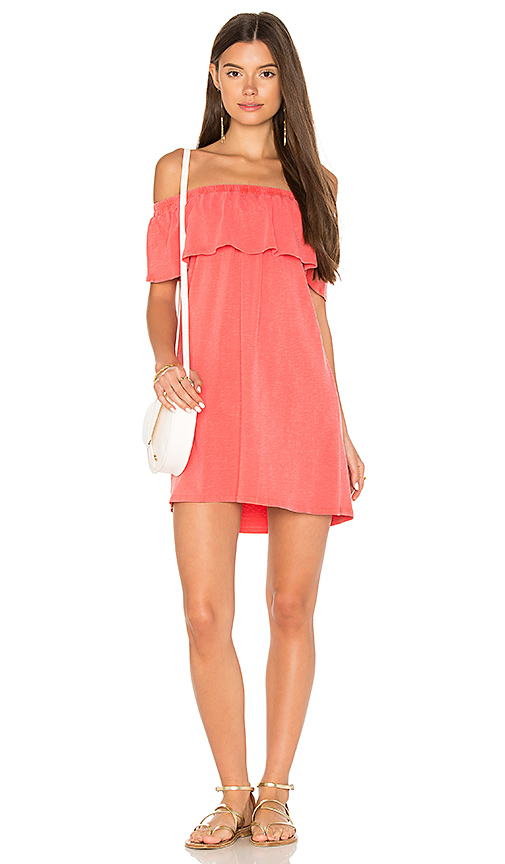 SUNDRY Off the Shoulder Ruffle Dress in Coral