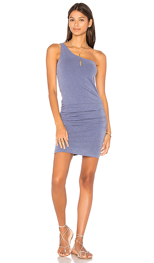 SUNDRY One Shoulder Dress in Blue
