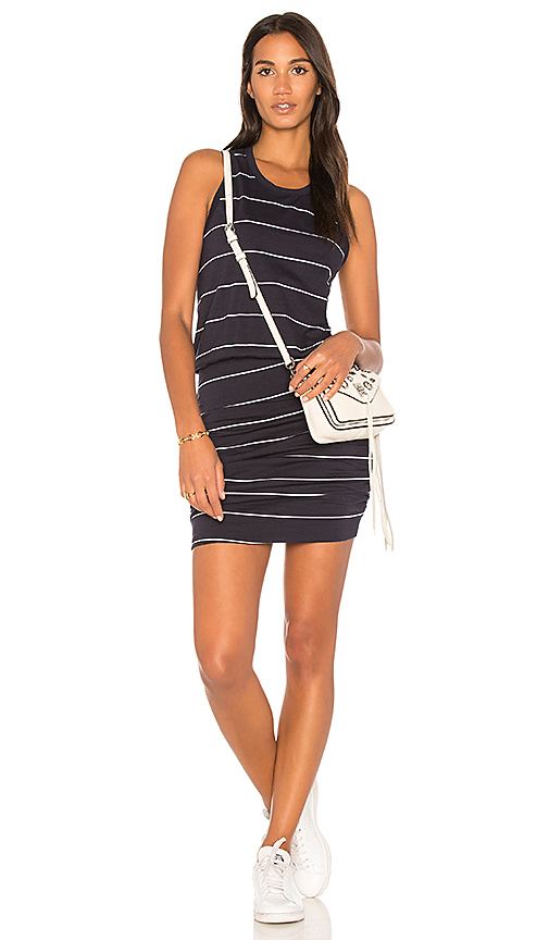 SUNDRY Ruched Tank Dress in Navy