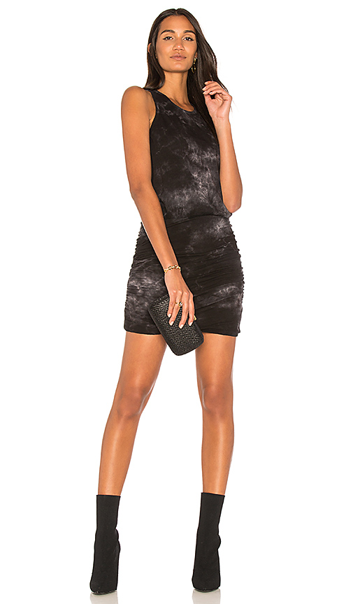 SUNDRY Tie Dye Ruched Tank Dress in Black
