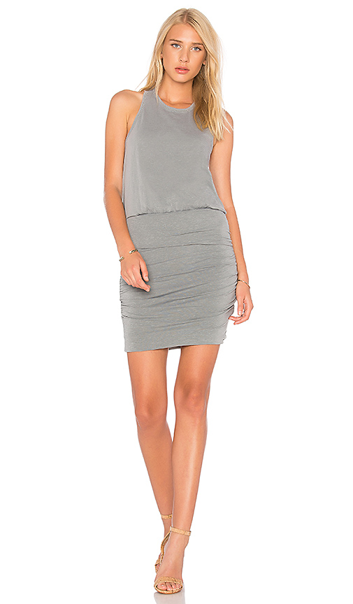 SUNDRY Ruched Tank Dress in Sage
