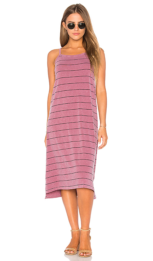 SUNDRY Stripe Midi Dress in Burgundy