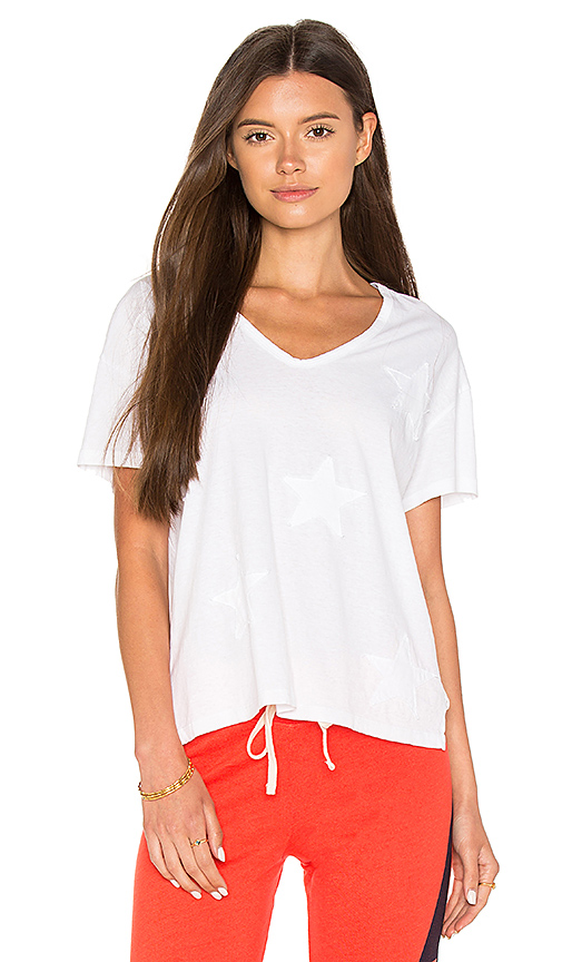 SUNDRY Star Applique Boxy Tee in White