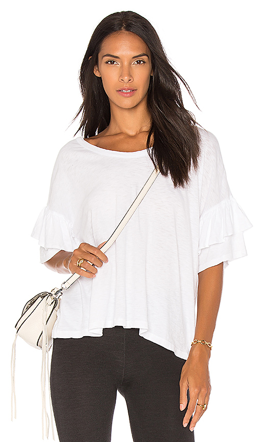 SUNDRY Ruffle Sleeve Tee in White