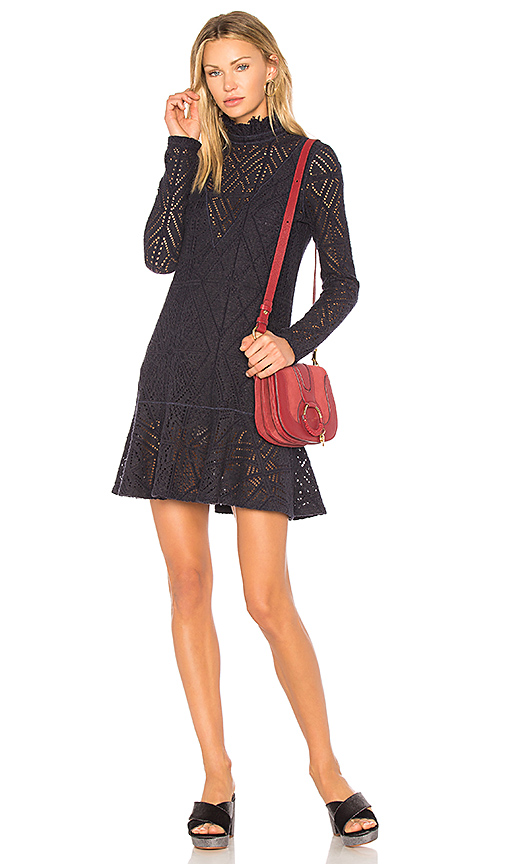 See By Chloe Lace Mini Dress in Navy. - size L (also in M,XS)