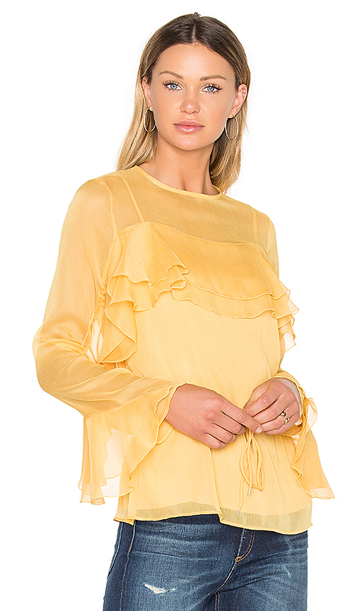 Photo of See By Chloe Tied Waist Long Sleeve Blouse in Yellow - shop See By Chloe tops sales