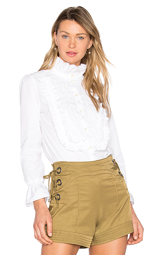 See By Chloe Ruffle Button-Down in White