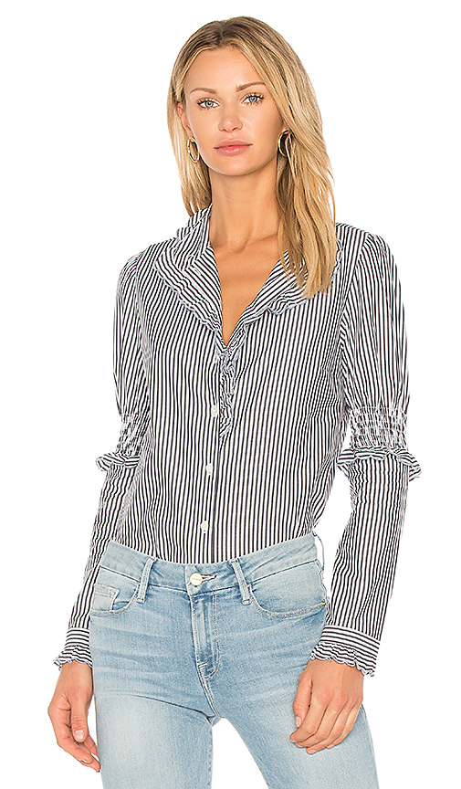 See By Chloe Striped Button Down Tunic in Black & White