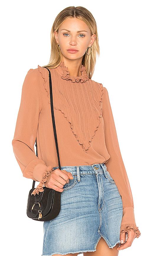 See By Chloe Plisse Embellished Top in Brown