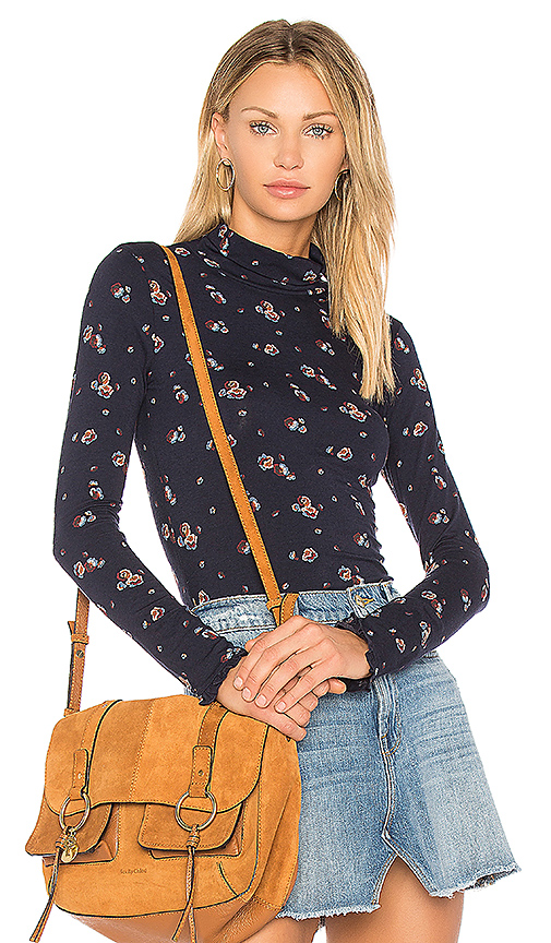 See By Chloe All Over Roses Turtleneck Top in Navy