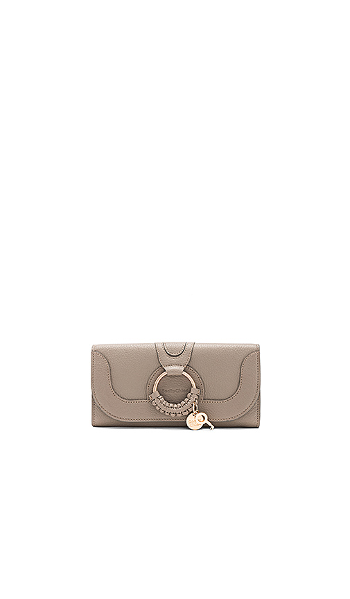 See By Chloe Hana Long Wallet With Flap in Taupe