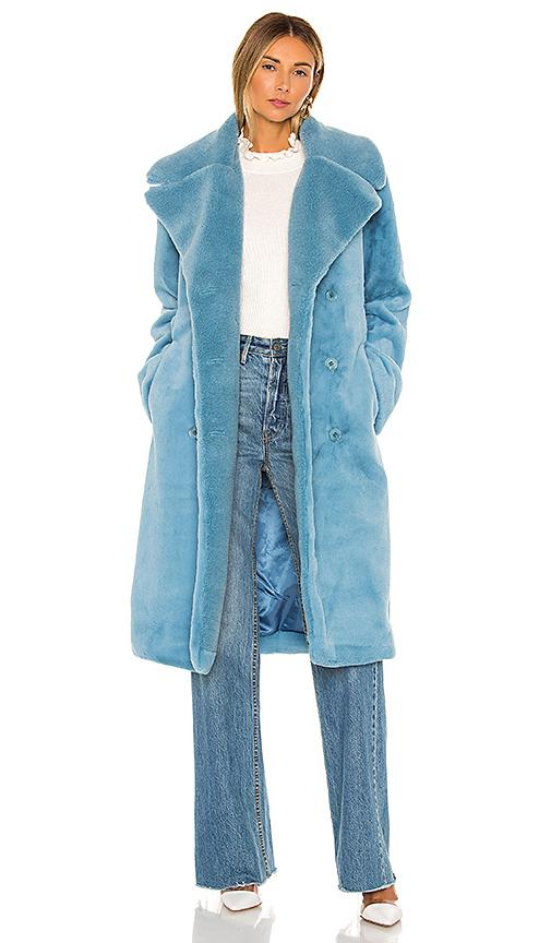 Stine Goya Happy Double-breasted Faux Fur Coat In Light Blue