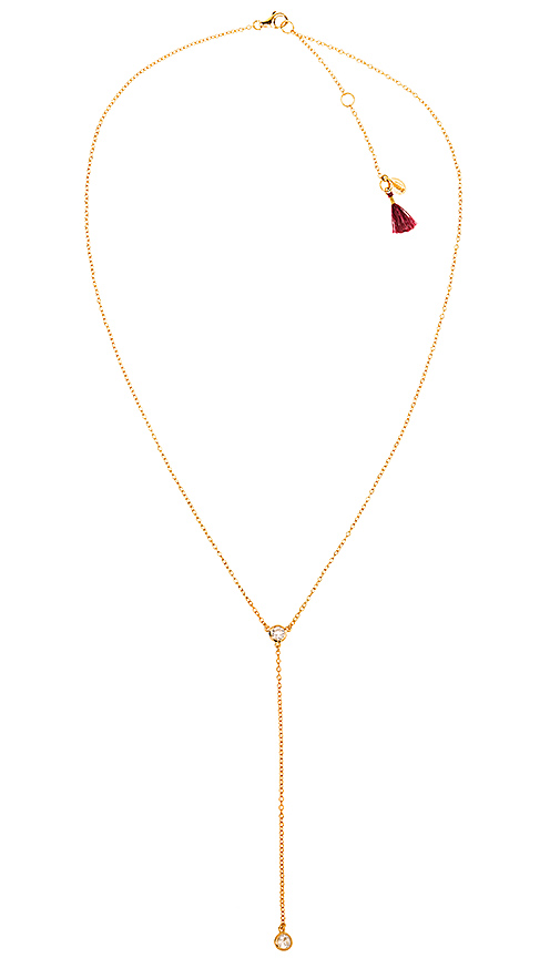 SHASHI Solitaire Lariat Necklace in Metallic Gold
