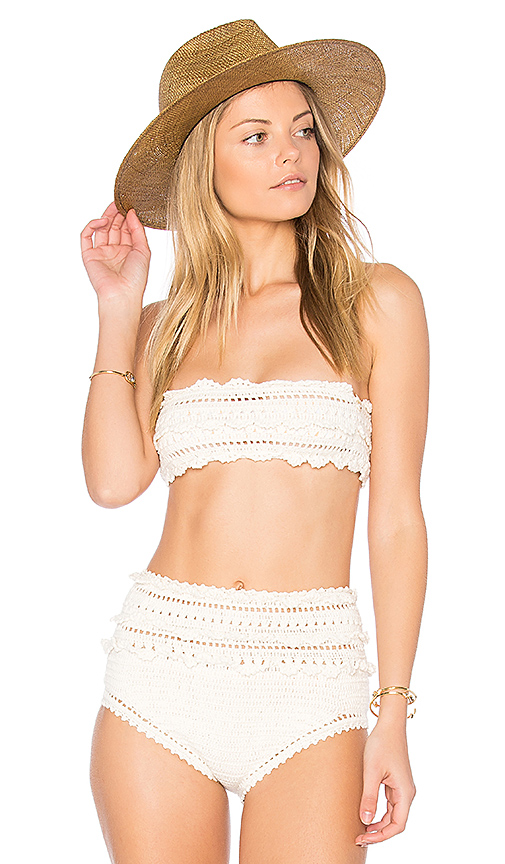 SHE MADE ME Crochet Bandeau Top in Ivory