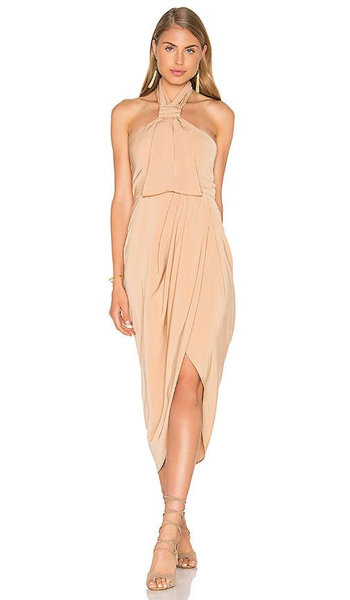 Shona Joy Knot Draped Dress in Tan