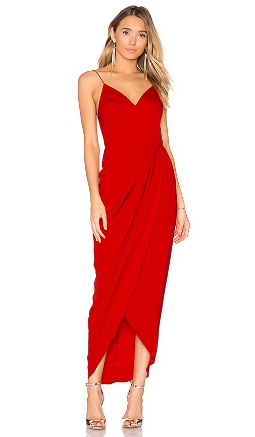 Shona Joy Cocktail Draped Dress in Red