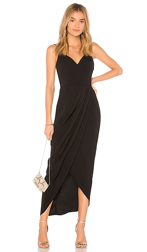 Shona Joy Cocktail Draped Dress in Black