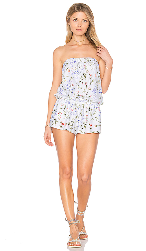 Shoshanna Botanical Floral Strapless Romper in White. - size M (also in XS)