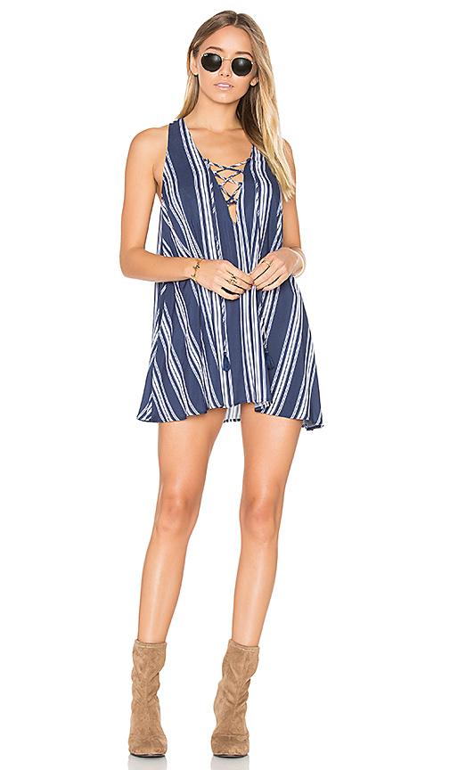 Show Me Your Mumu Rancho Mirage Lace Up Dress in Navy
