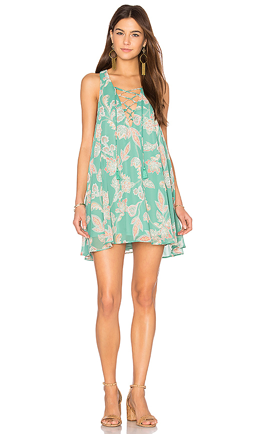 Show Me Your Mumu Rancho Mirage Lace Up Dress in Green