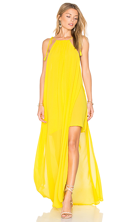 Show Me Your Mumu Rochester Maxi Dress in Yellow. - size L (also in M,S,XS)