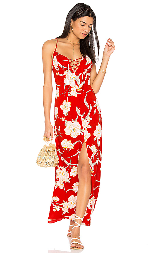 Show Me Your Mumu Leyton Lace Up Maxi Dress in Red
