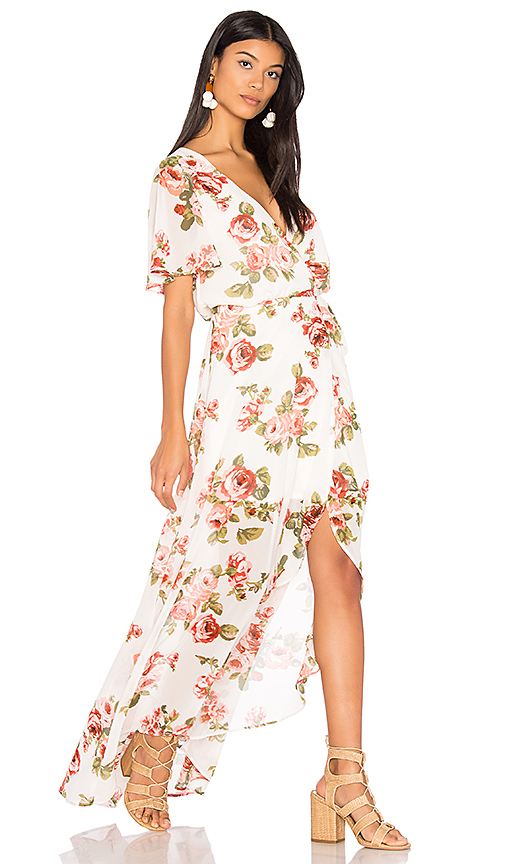 Show Me Your Mumu Marianne Wrap Dress in White. - size L (also in M,S,XS)