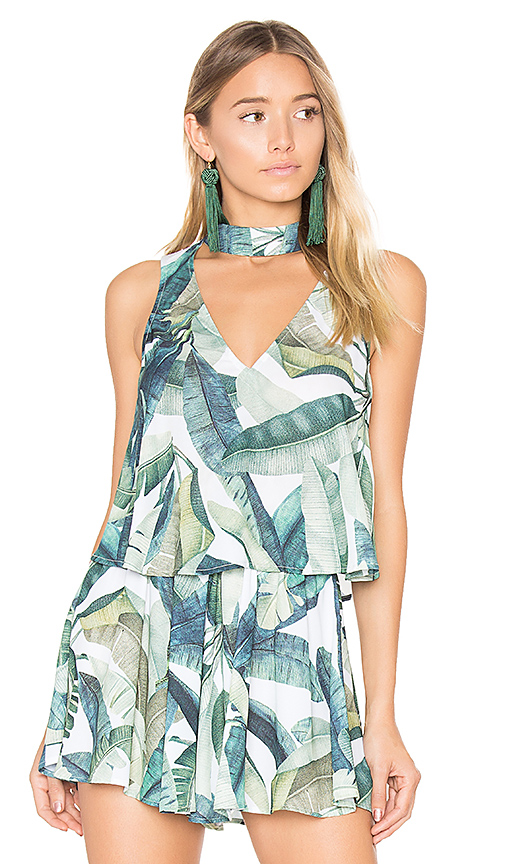 Show Me Your Mumu Casey Collar Top in Green