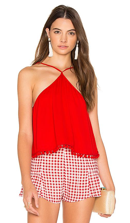 Show Me Your Mumu Lex Pom Pom Top in Red