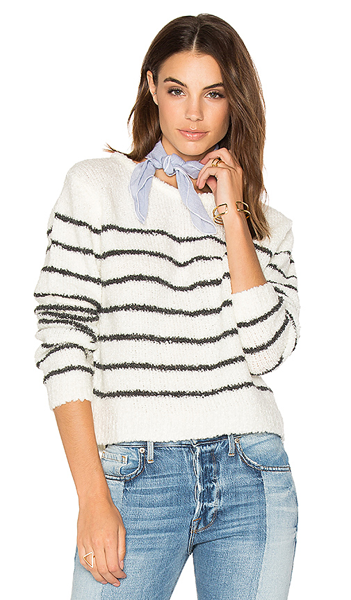 Sincerely Jules Tula Striped Sweater in White. - size L (also in M,S,XS)