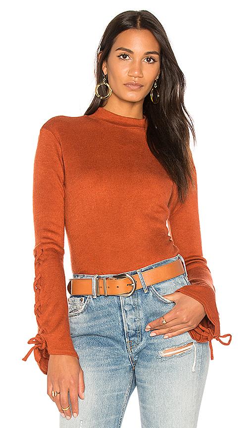 Somedays Lovin Tied Up High Neck Top in Burnt Orange