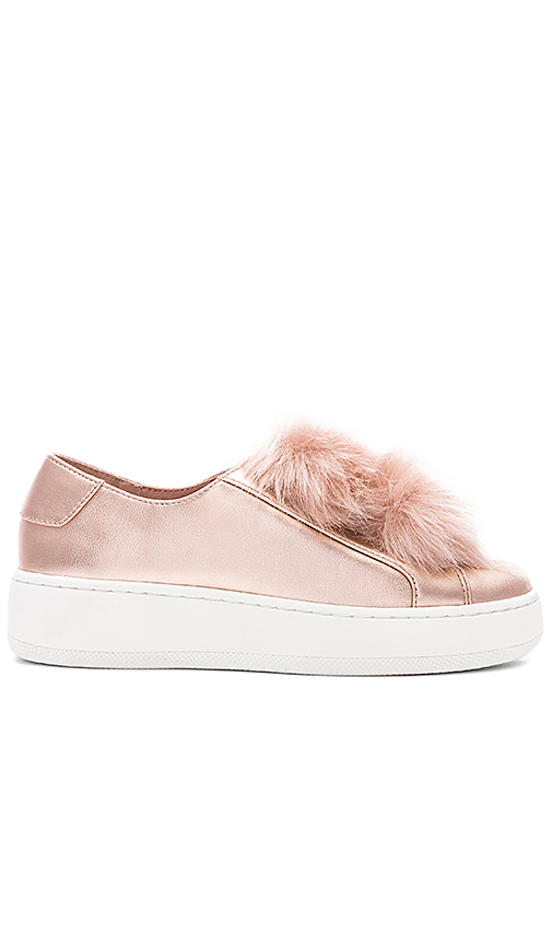 Steve Madden Breeze Faux Fur Sneaker in Metallic Copper