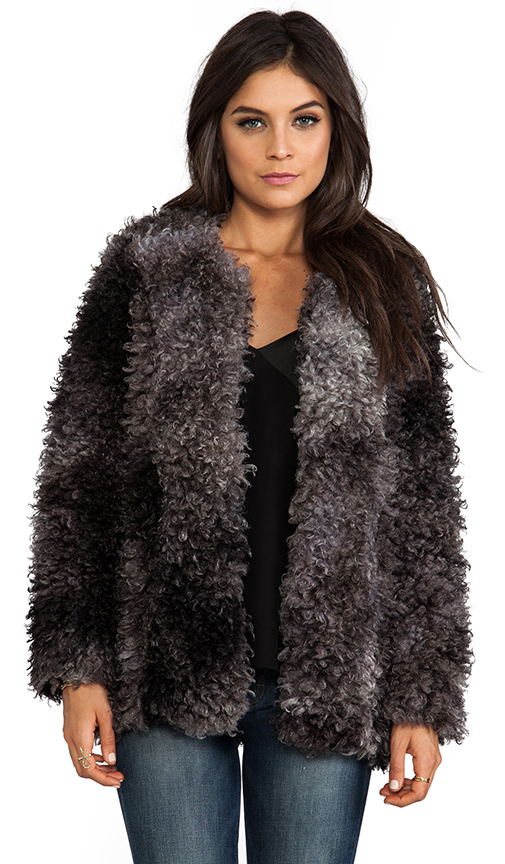 Smythe Chubby Faux Fur Jacket in Charcoal at Revolve Clothing