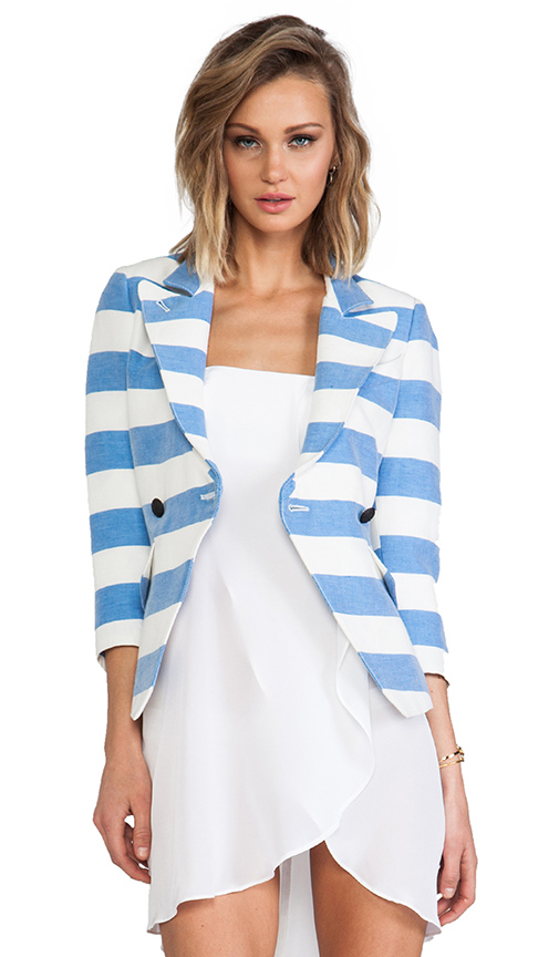 Smythe Spring Crossover Blazer in Blue at Revolve Clothing