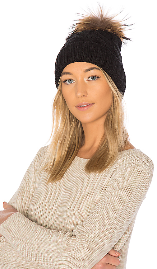 Soia & Kyo Amalie Beanie With Raccoon Fur in Black