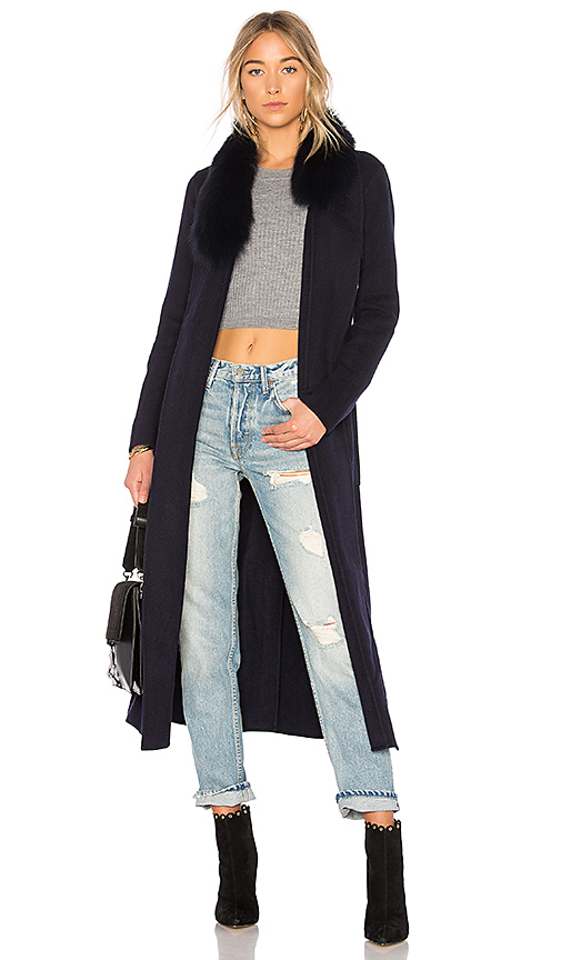Soia & Kyo Daphne Fur Trimmed Coat in Navy
