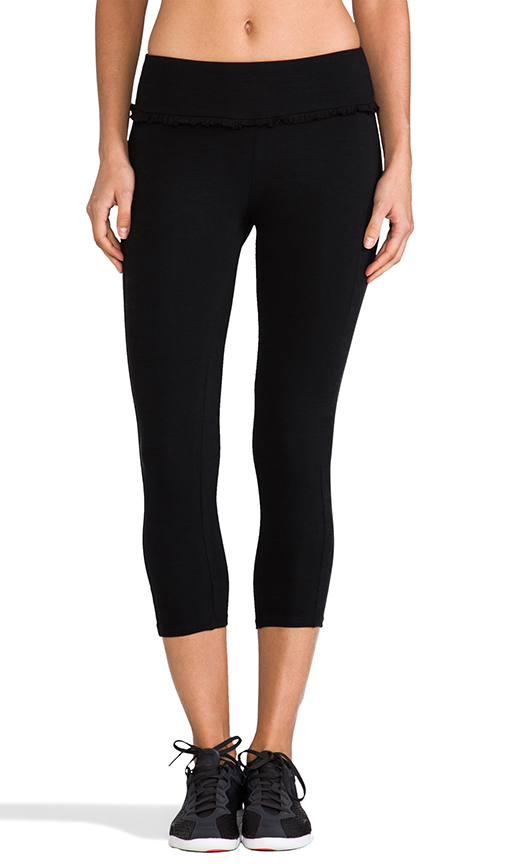 SOLOW Crop Legging with Ruffle Waistband in Black