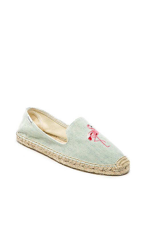 Soludos Flamingo Embroidered Espadrille in Blue