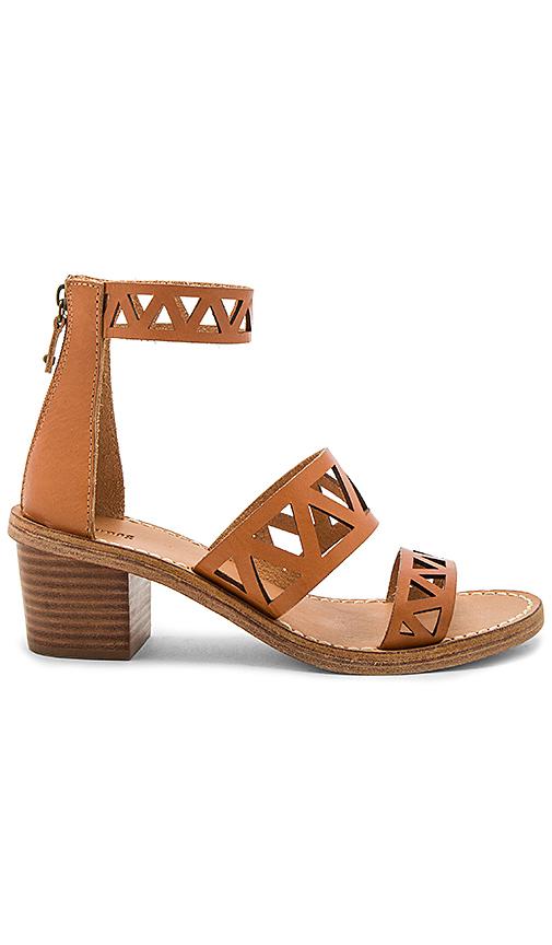 Soludos Geo Laser Cut Mid Heel Sandal in Tan