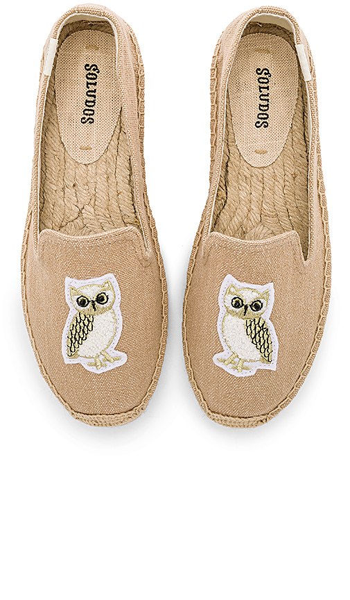 Soludos Gilded Owl Smocking Slipper in Beige