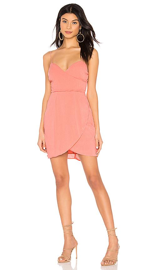 c93fe07d6504 superdown Maribelle Wrap Dress in Peach