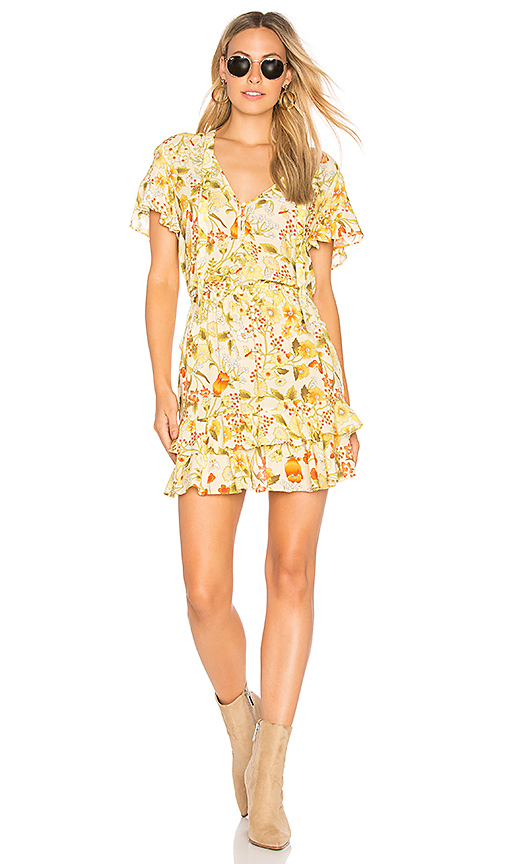 Spell & The Gypsy Collective Sayulita Short Sleeve Frill Mini Dress in Yellow