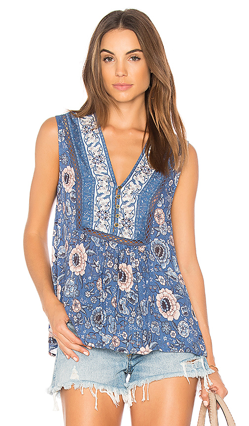 Spell & The Gypsy Collective Zahara Sleeveless Blouse in Blue