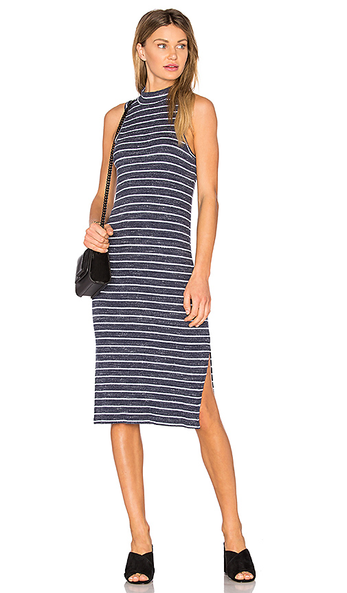 Splendid Striped Space Dye Rib Dress in Navy