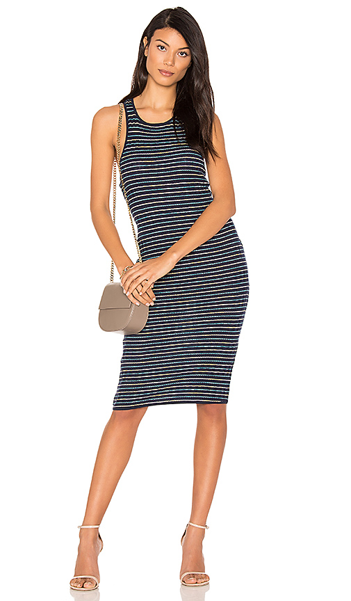 Splendid Stripe Rib Knit Tank Dress in Blue